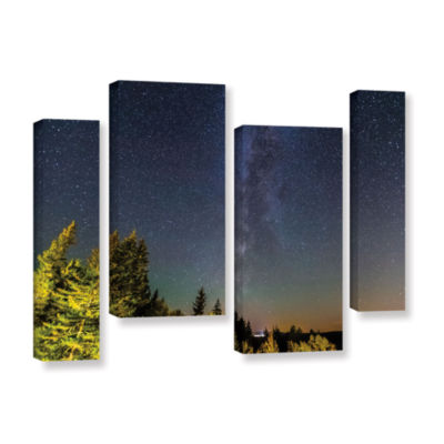 Brushstone Milky Way In Maine Horizontal 4-pc. Gallery Wrapped Staggered Canvas Wall Art