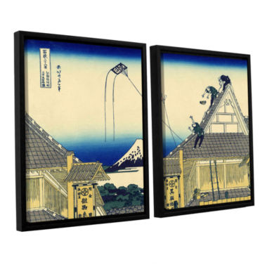 Brushstone Mitsui Shop On Suruga Street In Edo 2-pc. Floater Framed Canvas Wall Art