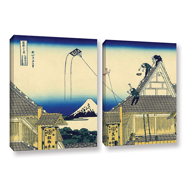 Brushstone Mitsui Shop On Suruga Street In Edo 2-pc. Gallery Wrapped Canvas Wall Art