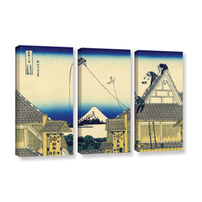 Brushstone Mitsui Shop On Suruga Street In Edo 3-pc. Gallery Wrapped Canvas Wall Art
