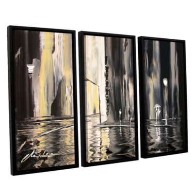 Brushstone Mono 3-pc. Floater Framed Canvas Wall Art