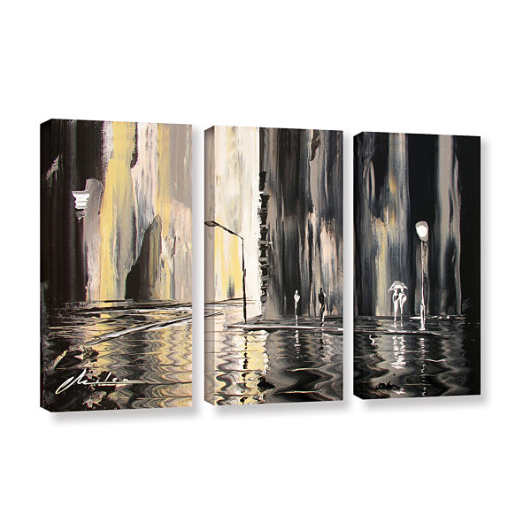 Brushstone Mono 3-pc. Gallery Wrapped Canvas WallArt