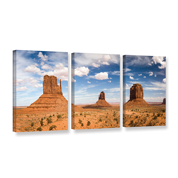 Brushstone Monument Valley Daytime Panoramic 3-pc.Gallery Wrapped Canvas Wall Art