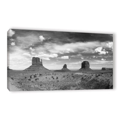 Brushstone Monument Valley Daytime Panoramic B&W Gallery Wrapped Canvas Wall Art