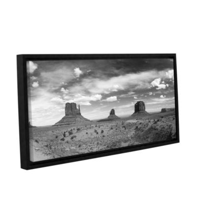 Brushstone Monument Valley Daytime Panoramic B&W Gallery Wrapped Floater-Framed Canvas Wall Art