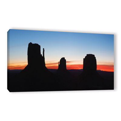 Brushstone Monument Valley Sunrise Silhouette Panoramic Gallery Wrapped Canvas Wall Art