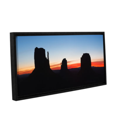 Brushstone Monument Valley Sunrise Silhouette Panoramic Gallery Wrapped Floater-Framed Canvas Wall Art
