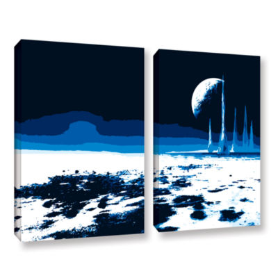 Brushstone Moon Sea 2-pc. Gallery Wrapped Canvas Wall Art