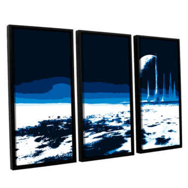 Brushstone Moon Sea 3-pc. Floater Framed Canvas Wall Art