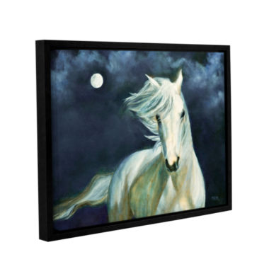 Brushstone Moon Silver Gallery Wrapped Floater-Framed Canvas Wall Art
