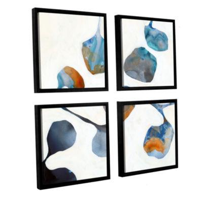 Brushstone Moonflower I 4-pc. Square Floater Framed Canvas Wall Art