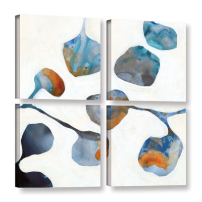 Brushstone Moonflower I 4-pc. Square Gallery Wrapped Canvas Wall Art