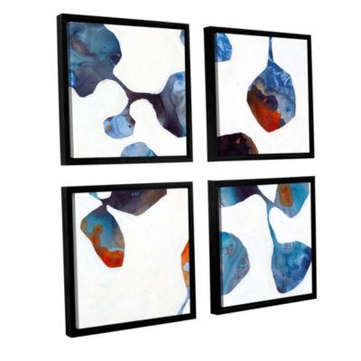 Brushstone Moonflower II 4-pc. Square Floater Framed Canvas Wall Art