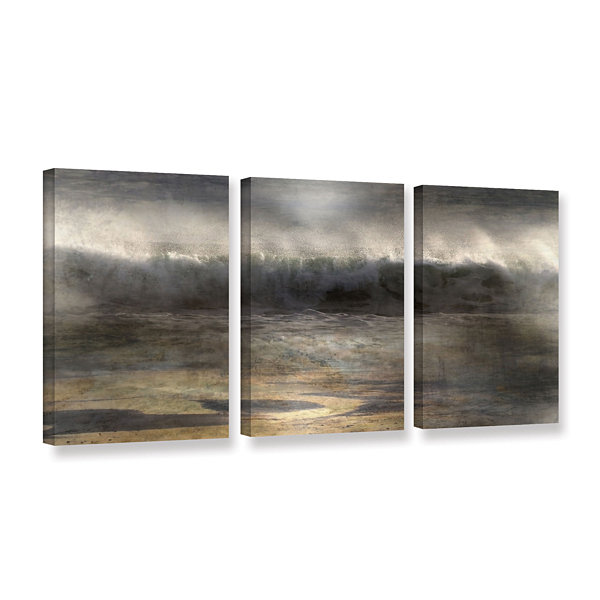 Brushstone Moonlit Wave 3-pc. Gallery Wrapped Canvas Wall Art