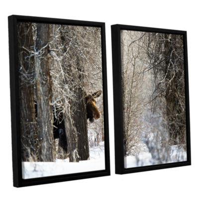 Brushstone Moose 2-pc. Floater Framed Canvas WallArt