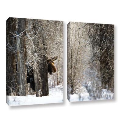 Brushstone Moose 2-pc. Gallery Wrapped Canvas WallArt
