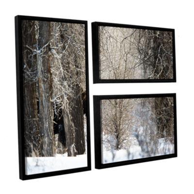 Brushstone Moose 3-pc. Flag Floater Framed CanvasWall Art