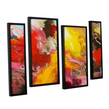 Brushstone Morning Burst 4-pc. Floater Framed Staggered Canvas Wall Art