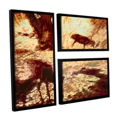 Brushstone Morning Deer 3-pc. Flag Floater FramedCanvas Wall Art