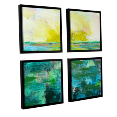 Brushstone Morning Dew 4-pc. Square Floater FramedCanvas Wall Art