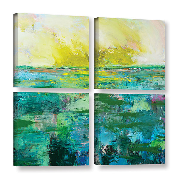 Brushstone Morning Dew 4-pc. Square Gallery Wrapped Canvas Wall Art