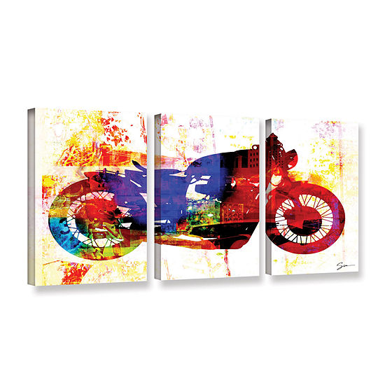Brushstone Moto III 3-pc. Gallery Wrapped Canvas Wall Art