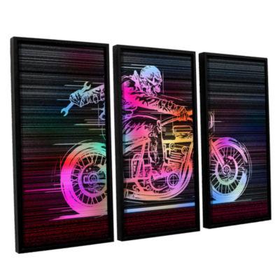 Brushstone Moto IV 3-pc. Floater Framed Canvas Wall Art