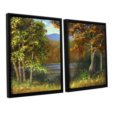 Brushstone Mountain Pond 2-pc. Floater Framed Canvas Wall Art