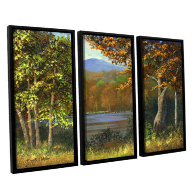 Brushstone Mountain Pond 3-pc. Floater Framed Canvas Wall Art