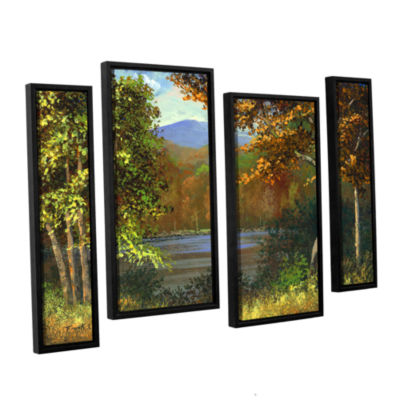 Brushstone Mountain Pond 4-pc. Floater Framed Staggered Canvas Wall Art