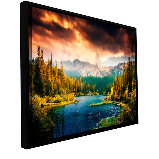 Brushstone Mountain View Gallery Wrapped Floater-Framed Canvas Wall Art