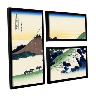 Brushstone Mt Fuji In The Sunset 3-pc. Flag Floater Framed Canvas Wall Art