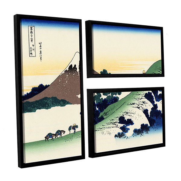 Brushstone Mt Fuji In The Sunset 3-pc. Flag Floater Framed Canvas Wall Art