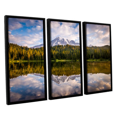 Brushstone Mt Rainer At Reflection Lakes 3-pc. Floater Framed Canvas Wall Art