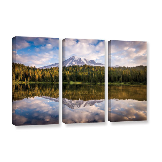 Brushstone Mt Rainer At Reflection Lakes 3-pc. Gallery Wrapped Canvas Wall Art