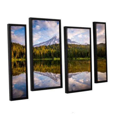 Brushstone Mt Rainer At Reflection Lakes 4-pc. Floater Framed Staggered Canvas Wall Art