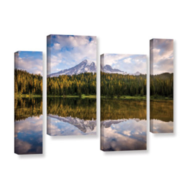Brushstone Mt Rainer At Reflection Lakes 4-pc. Gallery Wrapped Staggered Canvas Wall Art
