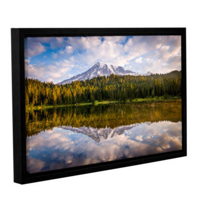 Brushstone Mt Rainer At Reflection Lakes Gallery Wrapped Floater-Framed Canvas Wall Art