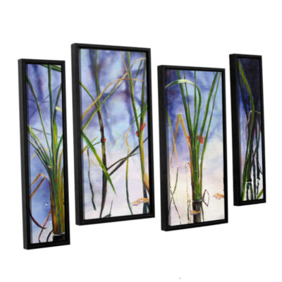 Brushstone Mystic Pond 4-pc. Floater Framed Staggered Canvas Wall Art