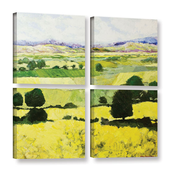 Brushstone Napa Yellow 2 4-pc. Square Gallery Wrapped Canvas Wall Art