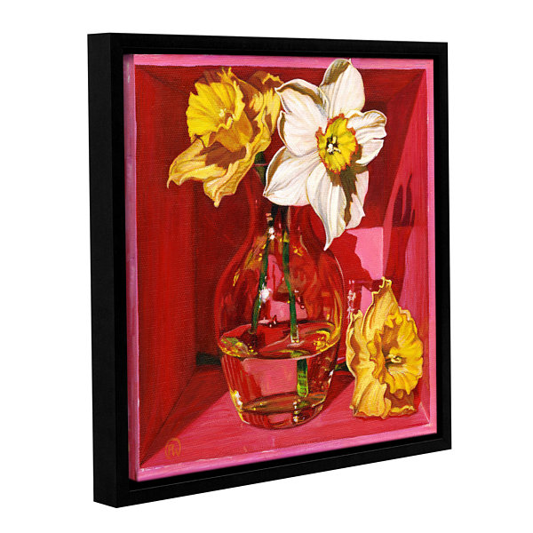 Brushstone Narcissus In Pink Gallery Wrapped Floater-Framed Canvas Wall Art