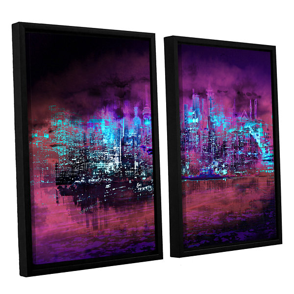 Brushstone Neon City II 2-pc. Floater Framed Canvas Wall Art