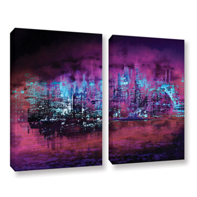 Brushstone Neon City II 2-pc. Gallery Wrapped Canvas Wall Art