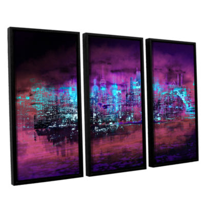 Brushstone Neon City II 3-pc. Floater Framed Canvas Wall Art