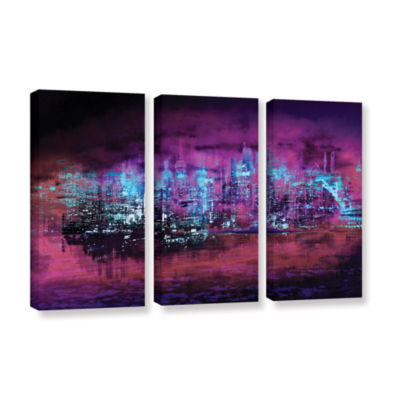 Brushstone Neon City II 3-pc. Gallery Wrapped Canvas Wall Art