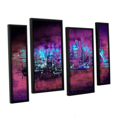 Brushstone Neon City II 4-pc. Floater Framed Staggered Canvas Wall Art