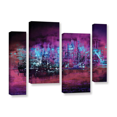 Brushstone Neon City II 4-pc. Gallery Wrapped Staggered Canvas Wall Art