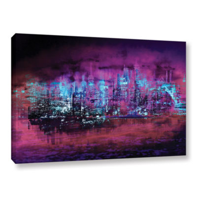 Brushstone Neon City II Gallery Wrapped Canvas Wall Art