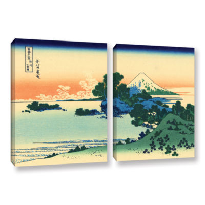 Brushstone Shichiri Beach In Sagami Province 2-pc.Gallery Wrapped Canvas Wall Art