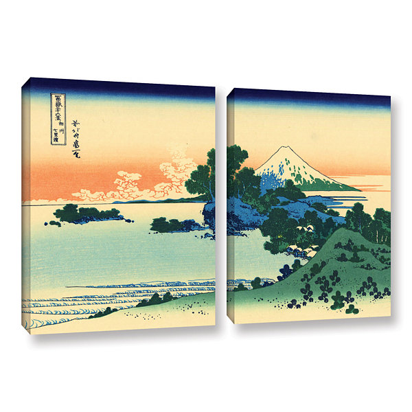 Brushstone Shichiri Beach In Sagami Province 2-pc.Gallery Wrapped Canvas Wall Art